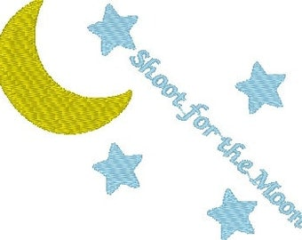 Shoot For The Moon Machine Embroidery Design-Stars and Moon-Small