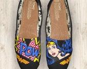 "Custom Painted ""Wonder Woman"" Toms Shoes"