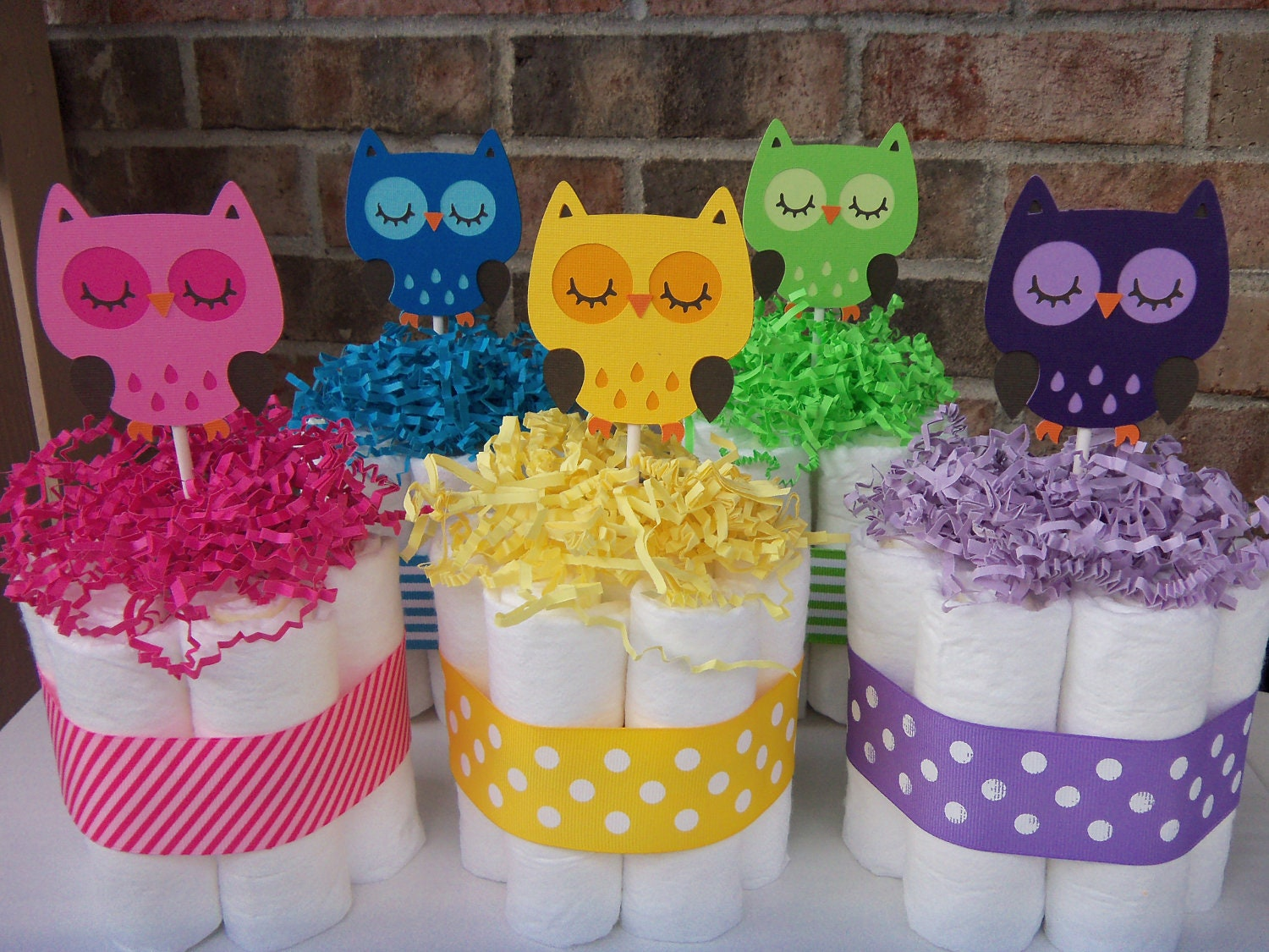 Bright owl diaper cakes set of small baby shower
