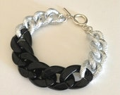 Kaylee Bracelet: Faux Pave Chunky Chain with Black Acrylic Chain