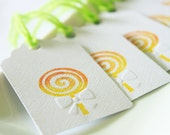 Lollipop Gift Tags with Embossed Ribbon, Candy Favor Tags, Set of 8