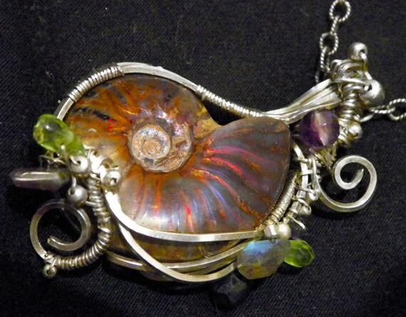 ON SALE - The Lorelei - Handmade Silver Opalized Ammolite Ammonite, Amethyst, Watermelon Tourmaline, Viking Stone Wire Wrap Pendant