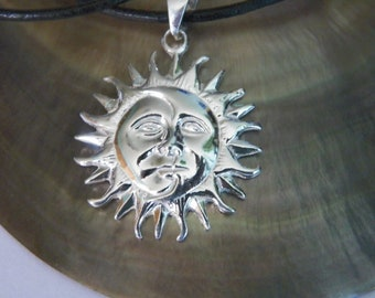 925 Sterling Silver Sun Moon Pendant with 2 mm Leather Cord Necklace