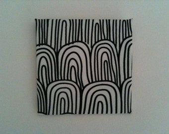 1:12 Dollhouse Miniature Marimekko Fabric on Canvas Wall Hanging