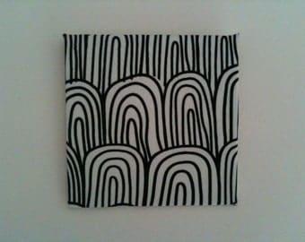 1:12 Dollhouse Miniature Marimekko Fabric on Canvas Wall Hanging