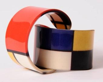 Piet Mondrian - Neo Plasticism - Abstract - Acrylic Bracelet - Bangle - Wristband - Cuff