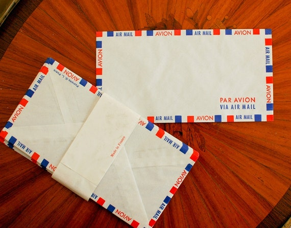 Vintage Par Avion /Airmail French envelopes (set of 15)