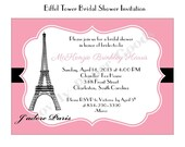Bridal Shower Invitation Eiffel Tower French Paris