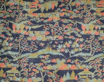 SF95 Vintage Japanese Fairy Tale Village Silk Wool