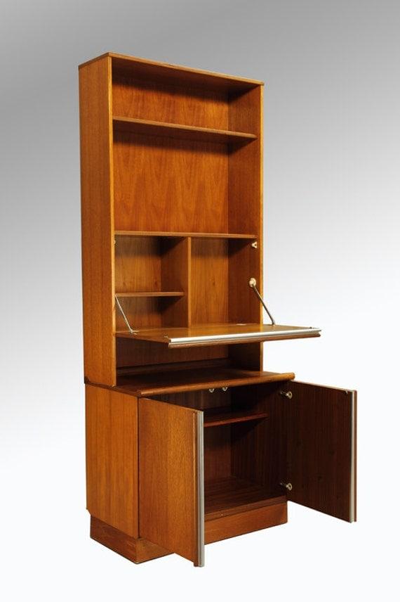 items similar to danish modern teak tall secretary desk. Black Bedroom Furniture Sets. Home Design Ideas