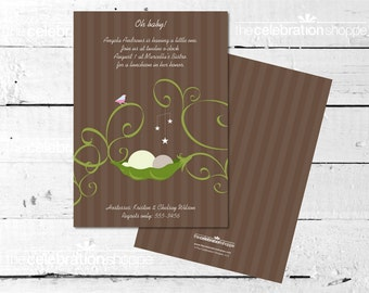 BROWN PEAPOD Baby Shower INVITATION from The Celebration Shoppe