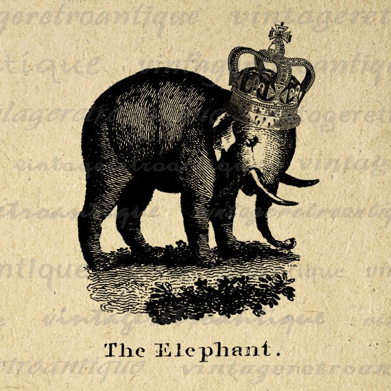 Elephant with Crown Digital Printable Image by ...