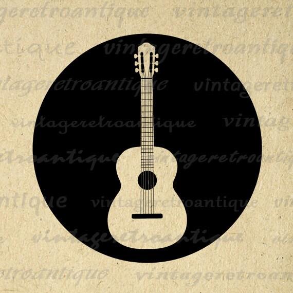 digital image acoustic guitar printable by vintageretroantique. Black Bedroom Furniture Sets. Home Design Ideas