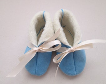 Baby Blue Flannel/Pale Yellow Fleece Lined Booties - 6 to 9 Months