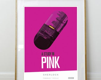 Sherlock Poster // A Study in Pink // Home Decor // 11 x 17 // A3 // RIBBA 290 x 390mm