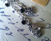 Black friday sale! Skull and heart charm necklace, silver chain and faux suede maroon cord,