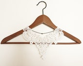 Reserved for Christina Tang- Handmade White Crochet Cotton Lace Collar Necklace Applique Pearl Chain Blouse Accessories