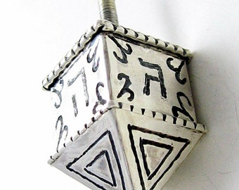 Sterling Silver dreidel for Hanukkah OOAK