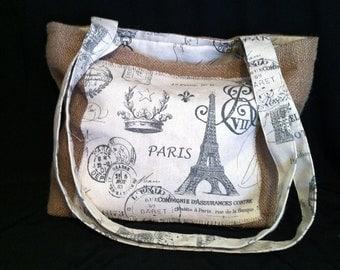 Parisian Burlap Sling Purse