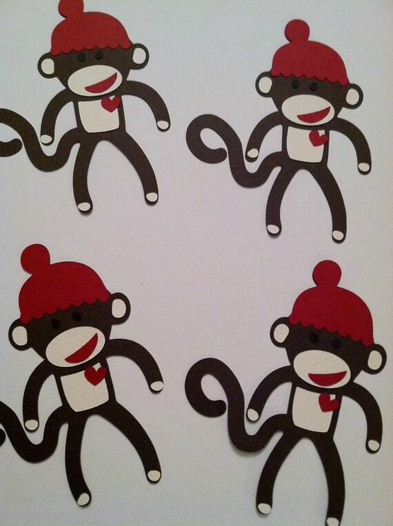 """Super Cute Set of (4)  5"""" Sock Monkey Die Cuts"""