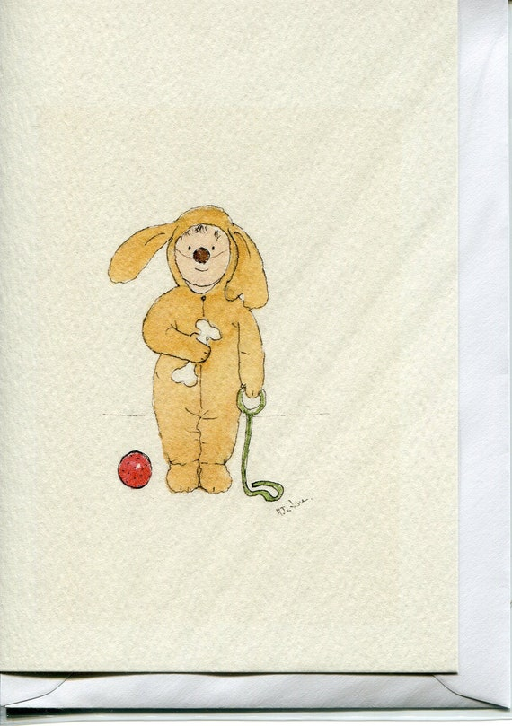 No 100  - Doggy fancy dress- a card from original watercolour- birthday-blank -children