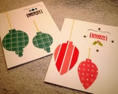 Pair of Handmade Christmas/Holiday Cards - Teal and Bright Pink-Red Ornaments with Gold String