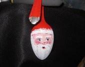 Best Selling  Repurposed Santa Vintage Silver Plate Spoon Ornament