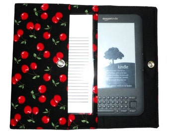 iPad Mini, Kindle, Nook, Kobo, Sony Reader, Samsung Galaxy, Small eReader Padded Case / Cover / Sleeve (READY TO SHIP) - Cherries