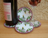 Embroidered Wine Coasters, Cork Backed, Set of 4