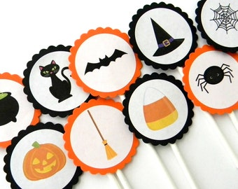 12 Halloween Cupcake Toppers, Halloween Theme, Pumpkin Toppers, Halloween Party, October Birthday, Pumpkin Theme