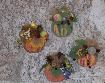 Medium Pumpkin-Decorated Pumpkin-Fall,Autumn,Thanksgiving Arrangement,Decoration,Centerpiece