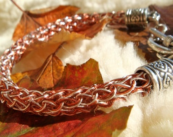 Autumn Brown and Copper Viking Knit Bracelet Made in Scotland