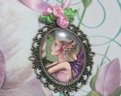 Aphrodite's rose brass vintage style cameo necklace choker - fairy fantasy - special offer