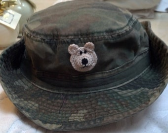 Boys Toddler Green Camouflage Outback Safari Cowboy Hat - Handmade Teddybear Face -  Olive Camouflage - One Size 4 to 6 years