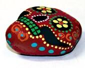 Red - Dia De Los Muertos Skull Paperweight - Hand Painted Stone