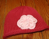 Raspberry Flower Hat - 18 month size
