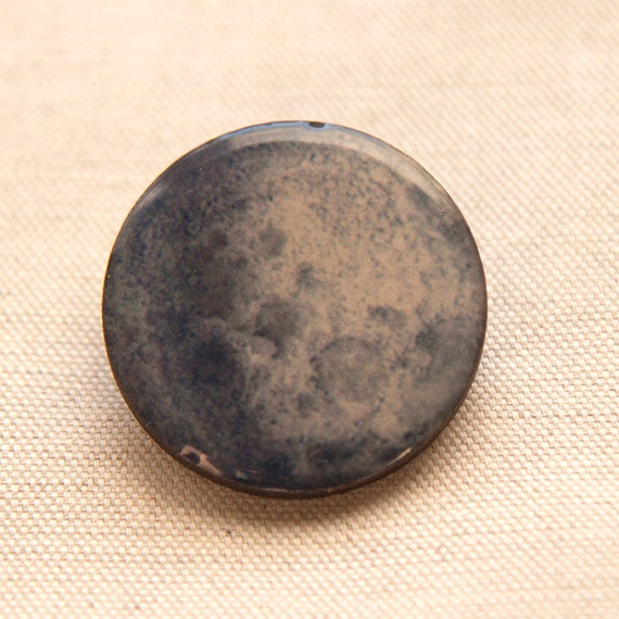 Blue Magical Full Moon Wooden Brooch Resin Astro Cosmo Jewelry