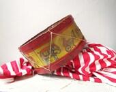 Antique circus theme drum-  1920s J Chein & Co rare tin lithograph drum- Tin toy