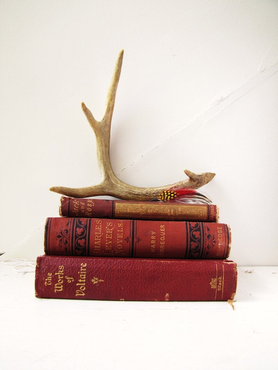 Autumn vintage books Fall colors set of three , decor set (all three included in this sale)