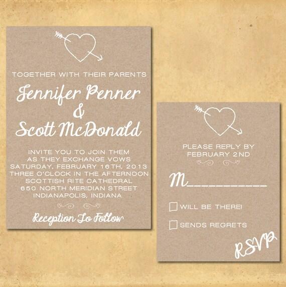 "Print It Yourself Wedding Invitations: Items Similar To Wedding Invitation Set: ""Rustic Charm"" (A"