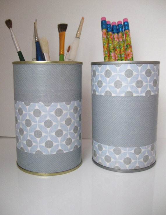 Upcycled Repurposed Tin Can Desk Accessories Set Pencil Brush Pen Holder Organizer Blue Gray Mod Style for Home Decor
