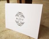 Wedding Thank You Monogram Elegant Swirl Personalized Note