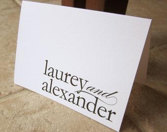40 Wedding Thank You Modern Stylish Personalized Monogram Note Card