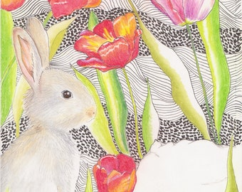 Bunny in the Tulips~Original Art, Drawing
