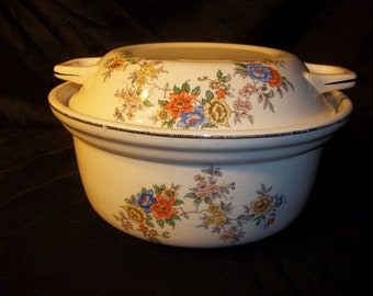 Antique, Vintage ,Lidded ,Casserole Dish, With Handles, Floral Design,