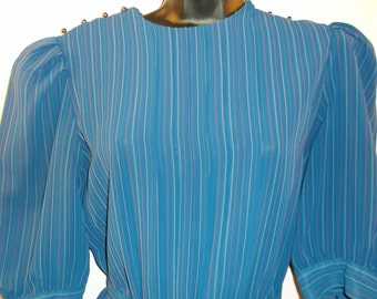 Vintage, Charlee Allison, for Eljay, Size 13/14 Dress. Blue, Pleated, Striped Knee Length