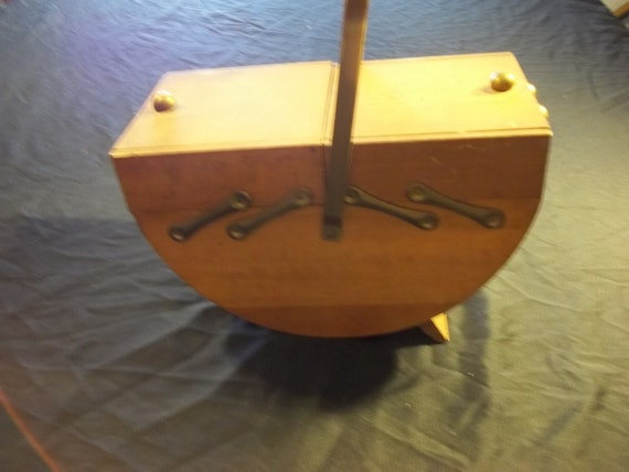 Vintage  wooden sewing box with buttons