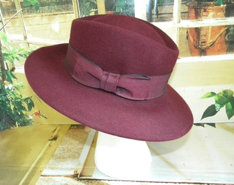 Vintage Nordstrom Hat Made in Italy Red Wine Color