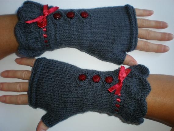 Handknitted dark grey color women fingerless gloves / wrist warmers