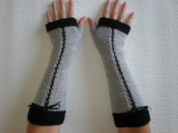 Handknitted light grey with black accent color women fingerless gloves / wrist warmers victorian style